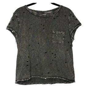 American Eagle Distressed Destroyed Crop Tee S
